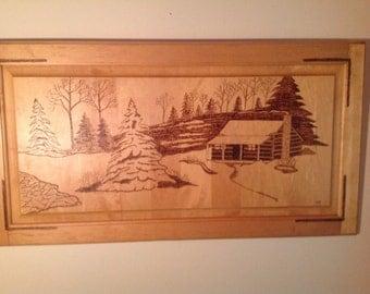 Woodburned cabin in the woods