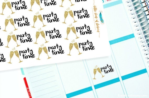 Party Time Stickers   Item Planner Stickers, Stickers For Planners, Party Planner Stickers