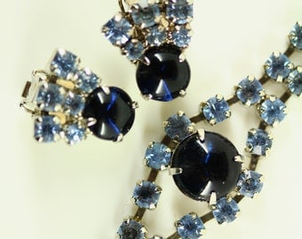 Vintage Art Deco Jewelry Set Demi Parure - Blue Rhinestone Clip On Earrings Bracelet, Formal Estate Jewelry, Art Deco Earrings Glamour Bling