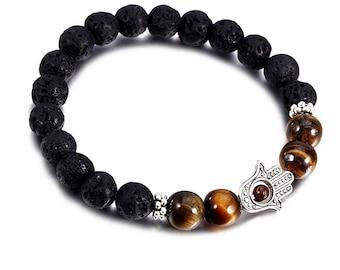 Lava Stretch Bracelet, Mala Bracelet,Mens Hamsa Bracelet,Tiger Eye Bracelet,Protection Good Luck Bracelet,Gemstone BraceletSpiritual Jewelry