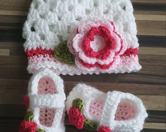 Handmade Rose Bud Baby Hat and Booties