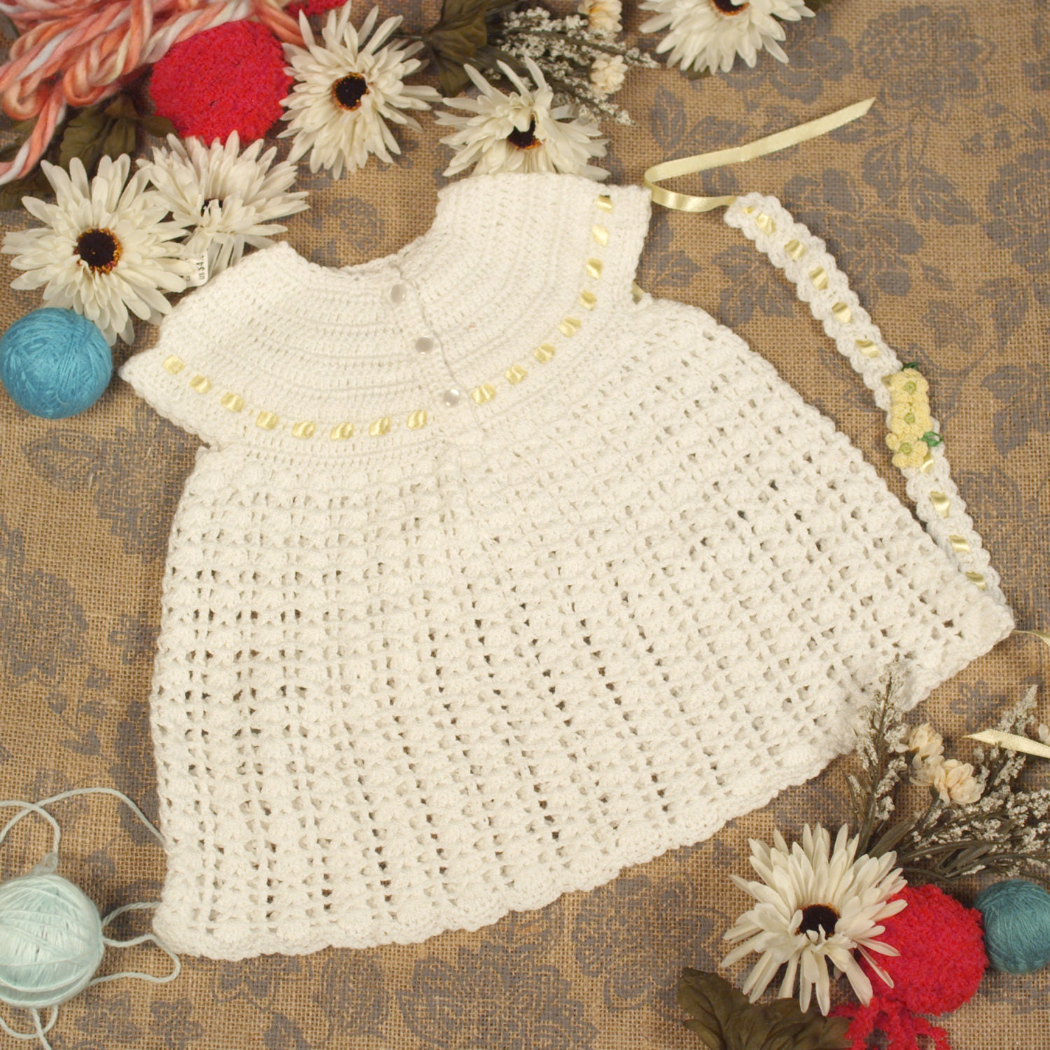 Izabella Collection white hand knitted baby dress