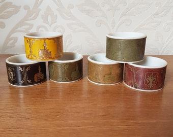 Italian Vintage Napkin Rings Set of 6 Serviette Rings