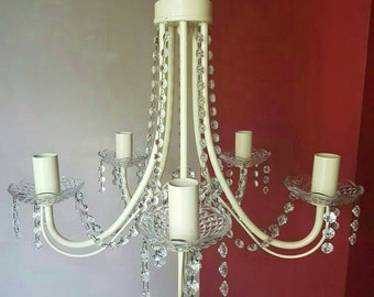 Crystal Chandelier  UpCycled Shabby Chic Vintage Antique White Crystal Chandelier