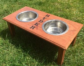 Custom Oak Dog Feeder
