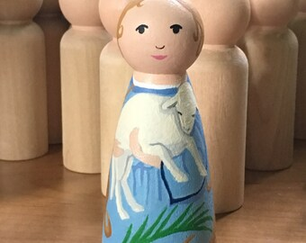 Saint Agnes Hand painted Peg Doll, Made to Order
