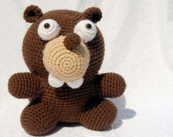 Crochet Bucky Beaver Amigurumi, Hand Made Soft Toy, Brown Beaver with Snap On Safety Eyes