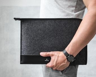 "NEW Touch Bar MacBook Pro 13"" (2016 model) Folio Case - Italian Leather and Merino Wool Felt, Grey / Black"