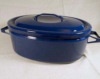 Vintage Arabia FINEL Seppo Mallat Finland - Blue Enamel Covered Roasting Pan