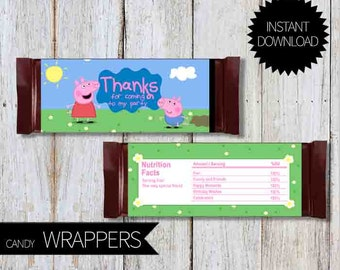 Peppa Pig Birthday Party PRINTABLE Candy Wrappers- Instant Download   Peppa Pig Birthday Party   Chocolate Wrapper