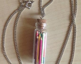 Art Supplies Bottle Charm Necklace - Tiny Pencils