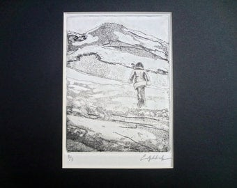 Limited Edition hand-pulled intaglio print of a running woman
