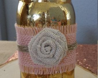 Gold and pink mason jar