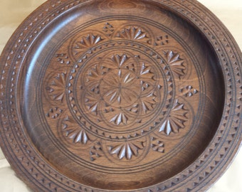 Vintage Wooden Dish Plate Bowl Carved Rustic Retro Home Kitchen Decor