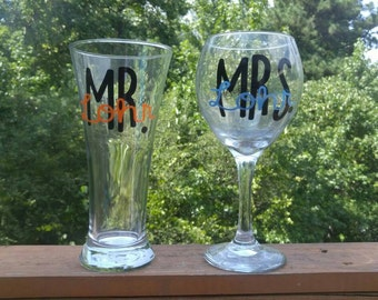 Mr. and Mrs. Glasses, marriage, bride, groom, wedding glasses, drinking glasses, toasting glasses, first toast glasses, wedding toast, love