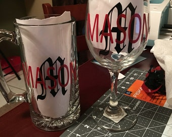 Monogrammed wine and beer glasses