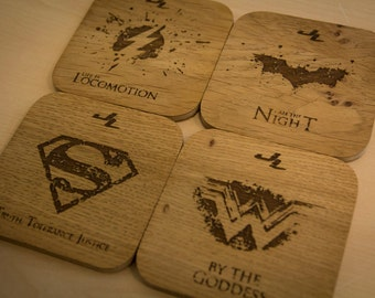 DC Comics Justice League Inspired Drinks Coasters - Set of Four