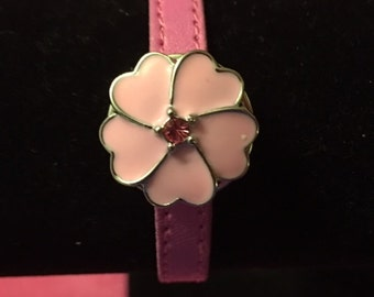Thin Pink Leather Bracelet with a Pink Flower Interchangeable Snap