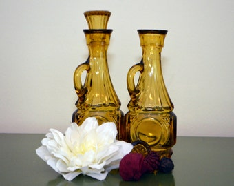 Vintage Wheaton Bullseye Amber Glass Oil Cruets Pair Mid-Century