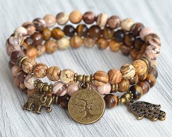 6mm Beads|Stacking bracelets|Mala|Yoga Jewelry|Tree of life|Elephant|Hamsa|Tiger eye Brown|Zebra Jasper|Charm|Beaded Bracelet