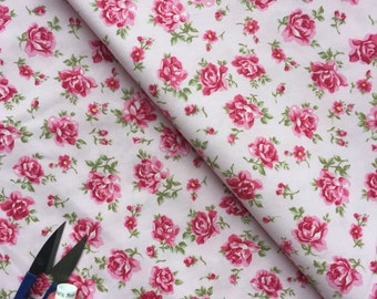 Pink Rose Floral Cotton Fabric