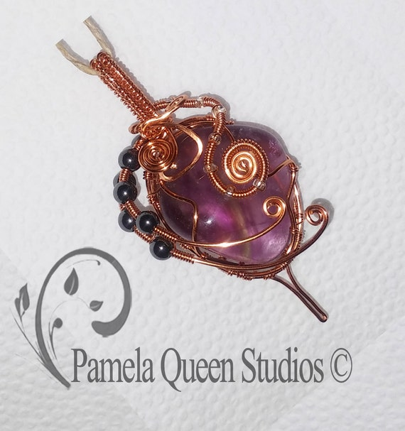 Copper Wire Wrapped Pendant, with Genuine Stones Fluorite & Hematite