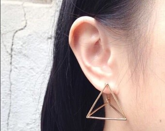 Geometric Triangle 3D Earrings