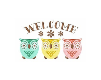 Welcome Owls - machine embroidery design