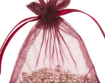 100 Burgundy Organza Gift Pouch Wedding Favour Bag Jewellery Pouch- 6 Sizes