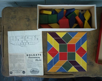 Vintage Painted Wood Building Blocks with Pattern Templates (Possibly Holgate)