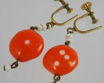Vintage Orange Plastic Bead Screw Back Earrings