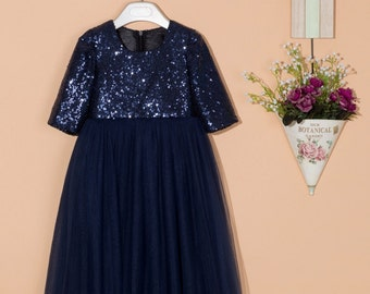 Navy blue flower girl dress/tulle flower girl dress/junior bridesmaid dress/sequin flower girl dress/wedding dress with sleeves 0075