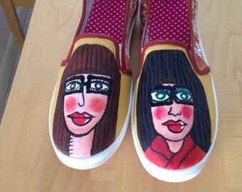 Hand Painted shoes - Mary and Jane