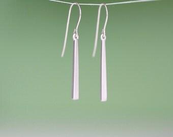 silver stick earrings, silver bar earrings, long bar earrings, minimalist earrings, silver earrings, silver drop earrings