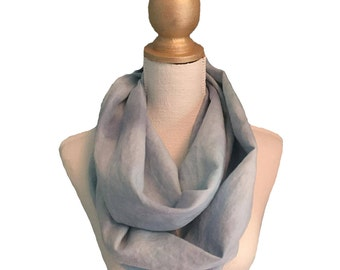 Hand painted linen infinity scarf #11