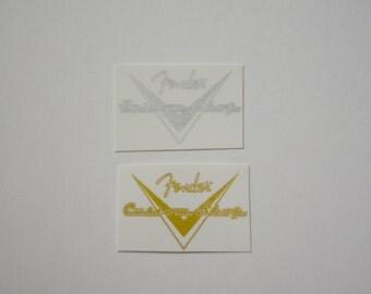 Gold Or Silver Foil Fender Custom Shop Guitar Waterslide logos decals