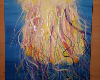 Jellyfish- 12x30 acrylics on canvas
