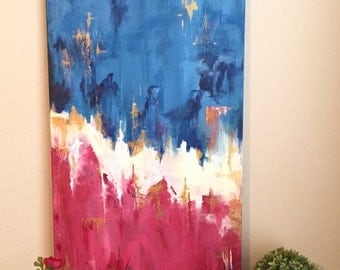 "24x48"" Abstract Acrylic, Original Painting, XL"