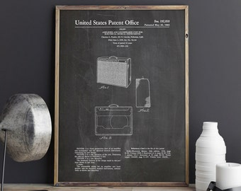 Fender 1962 Pro Amp Patent Poster, Guitar Amplifier, Guitar Art, Teen Room Wall Art, Unique Gift for Dad PTP0093 INSTANT DOWNLOAD