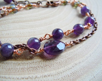 Bracelet Amethyst and copper