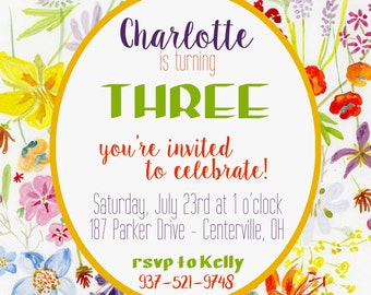 Watercolor Floral Birthday Party Invitation