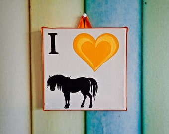 I Love Horses canvas