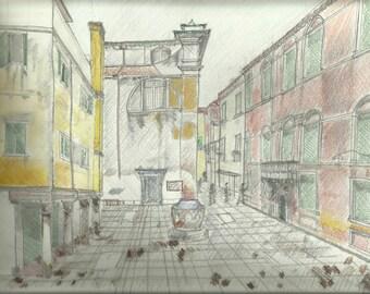 Venice, Italy - Colored Pencil, 8 x 10