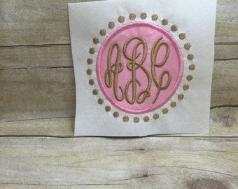 Circle Applique With Dot Frame Embroidery Design