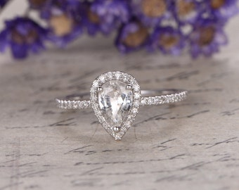 white Sapphire engagement ring with Diamond,Solid 14k white gold,promise ring,bridal,5x7mm pear custom made fine jewelry,prong set