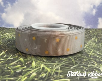 """Suns and Moons in silver METALLIC INK grosgrain ribbon 7/8"""" 5 yards USDR"""