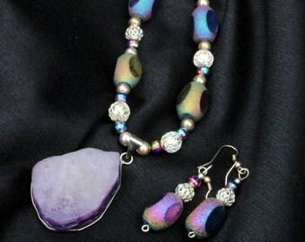 Purple Druzy Quartz Pendant Necklace and Earrings