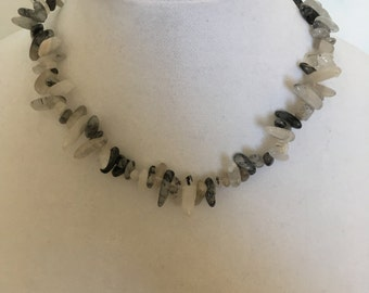 White and Grey Beaded Necklace
