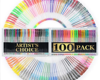 100 Gel Pens with Case (EXTRA LARGE SET) - 100 Individual Colors (No Duplicates) Free Expedited Shipping