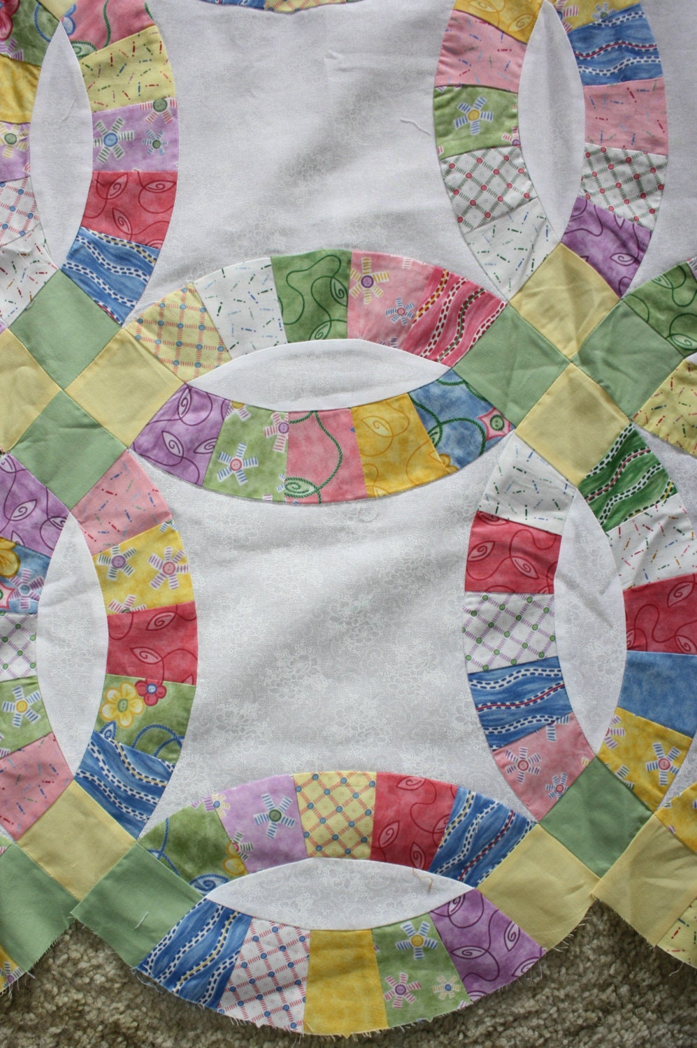 Double Wedding Ring Quilt Top